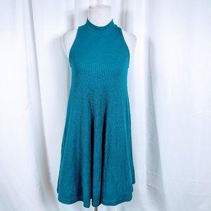 Hollister Blue Ribbed Mock Neck Dress